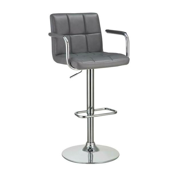See Details - Contemporary Grey and Chrome Adjustable Bar Stool With Arms
