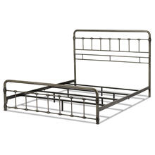 View Product - Fremont Metal SNAP Bed with Folding Frame Bedding Support System and Rounded Edge Panels, Weathered Nickel Finish, Full