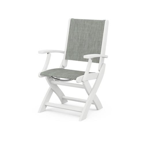 Coastal Folding Chair in Vintage White / Birch Sling