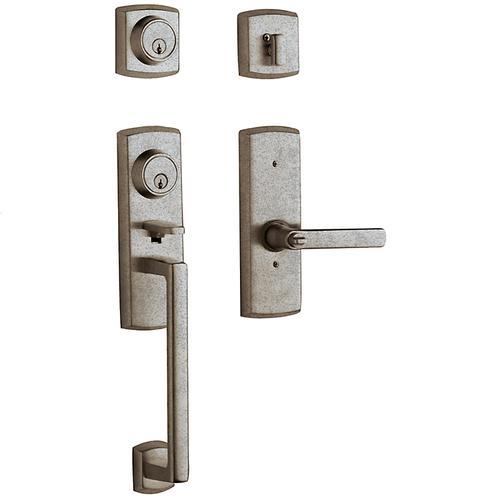 Distressed Antique Nickel Soho Two-Point Lock Handleset