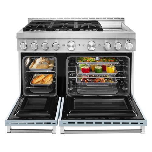 KitchenAid® 48'' Smart Commercial-Style Gas Range with Griddle Misty Blue
