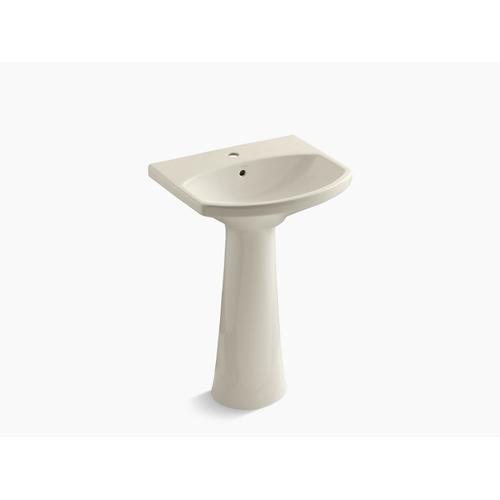 Almond Pedestal Bathroom Sink With Single Faucet Hole