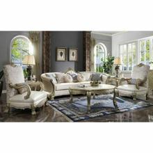 ACME Dresden II Sofa w/7 Pillows - 54875 - Bone PU & Gold Patina