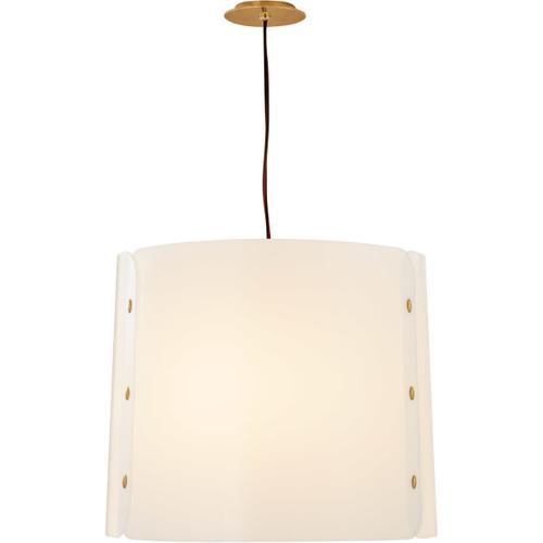 Visual Comfort - Barbara Barry Dapper LED 24 inch Soft Brass Hanging Shade Ceiling Light, Medium