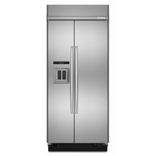 KitchenAid - 20.8 cu ft 36-Inch Width Built-In Side-by-Side Refrigerator with PrintShield™ Finish - Stainless Steel with PrintShield™ Finish