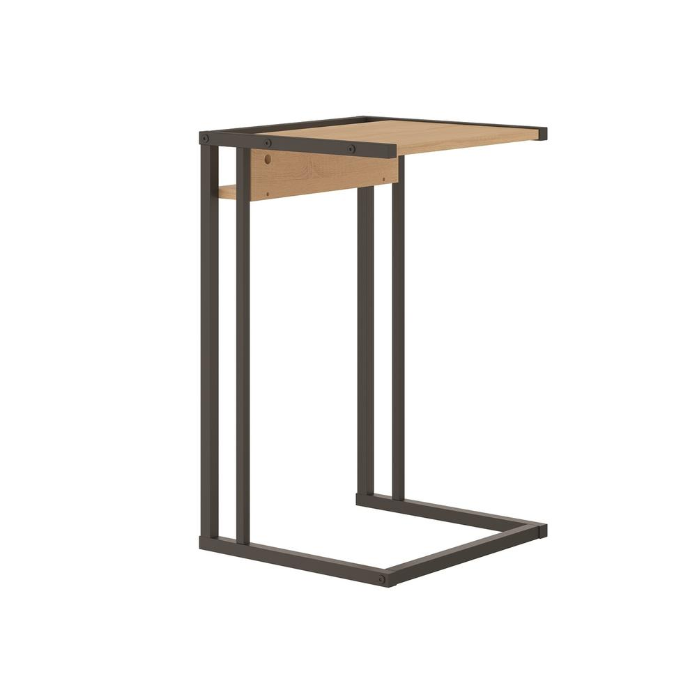 The Noa C End Table Part Of Our Kd Collection In Birch Melamine With Black Metal Painted Frame