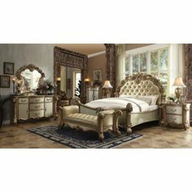 ACME Vendome Queen Bed - 23000Q - Bone PU & Gold Patina