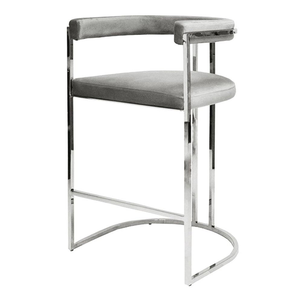Airy, Refined, and Reminiscent of Old Hollywood, the Donovan Barrel Back Barstool Delivers A Shot of Modern Glam To Your Kitchen Island. Luxurious Dove Grey Velvet Upholstery Rests Gently On A Polished Nickel Frame.