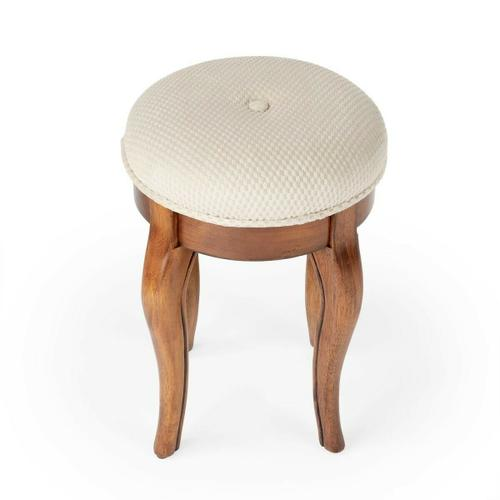 Butler Specialty Company - The cabriole legs of this petite vanity stool are crafted from solid wood and birch veneers with a sleek in Olive ash Burl finish. Features a button-tufted cushioned seat upholstered in a cotton hobnail fabric.