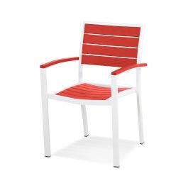 Polywood Furnishings - Eurou2122 Dining Arm Chair in Satin White / Sunset Red