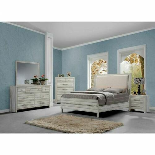 ACME Shayla Queen Bed - 23980Q - Fabric & Antique White