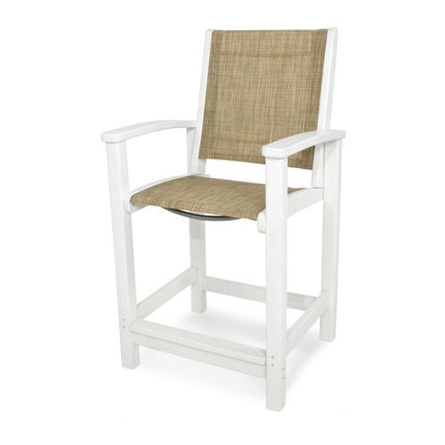 White & Burlap Coastal Counter Chair