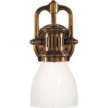 E. F. Chapman Yoke 1 Light 5 inch Hand-Rubbed Antique Brass Suspended Wall Sconce Wall Light in White Glass