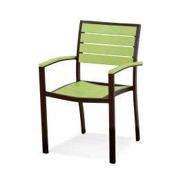 Polywood Furnishings - Eurou2122 Dining Arm Chair in Textured Bronze / Lime