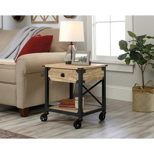 Product Image - Rustic Metal & Wood Side Table with Casters
