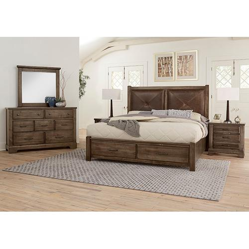 Vaughan-Bassett - King Leather Bed with Footboard Storage