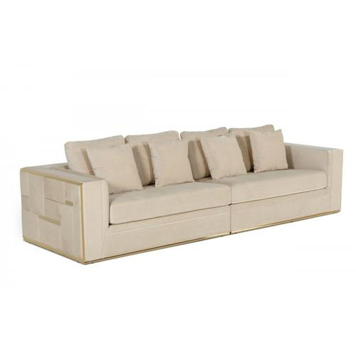 Gallery - Divani Casa Mobray - Glam Beige and Gold Fabric Sofa