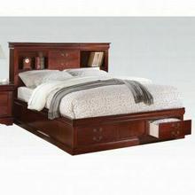 ACME Louis Philippe III Eastern King Bed w/Storage - 24377EK_KIT - Cherry