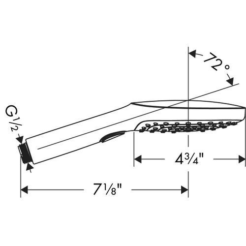 White/chrome Handshower 120 3-Jet, 2.5 GPM