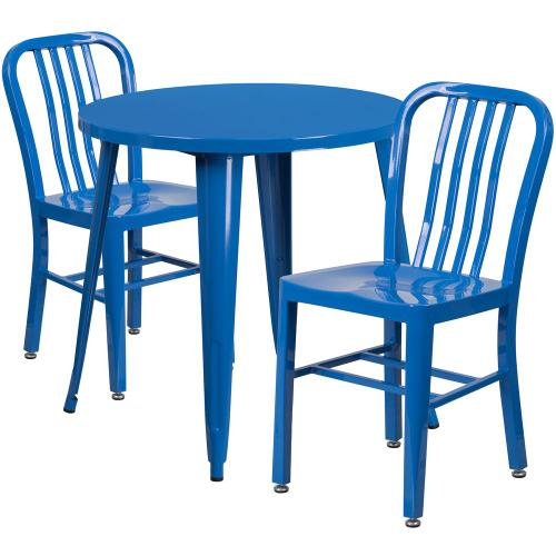 30'' Round Blue Metal Indoor-Outdoor Table Set with 2 Vertical Slat Back Chairs