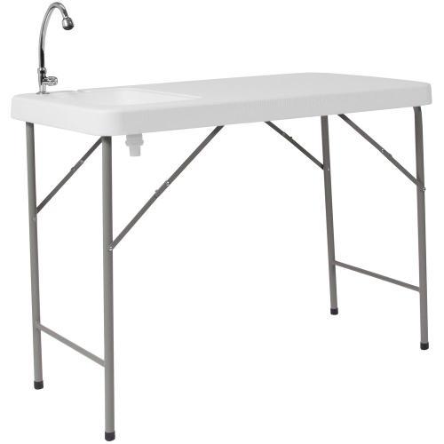 Alamont Furniture - 23''W x 45''L Granite White Plastic Folding Table with Sink