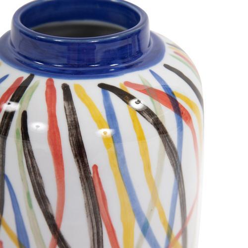 Howard Elliott - Color Web Ceramic Cylindrical Vase, Small