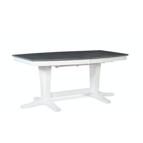Milano Double Pedestal Extension Table in Heather Gray & White