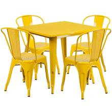 31.5'' Square Yellow Metal Indoor-Outdoor Table Set with 4 Stack Chairs