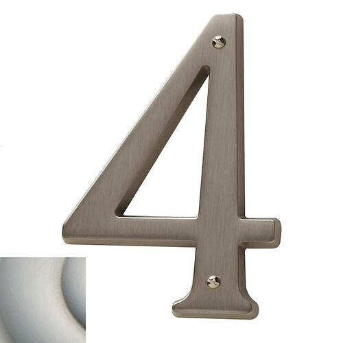 Satin Nickel with Lifetime Finish House Number - 4