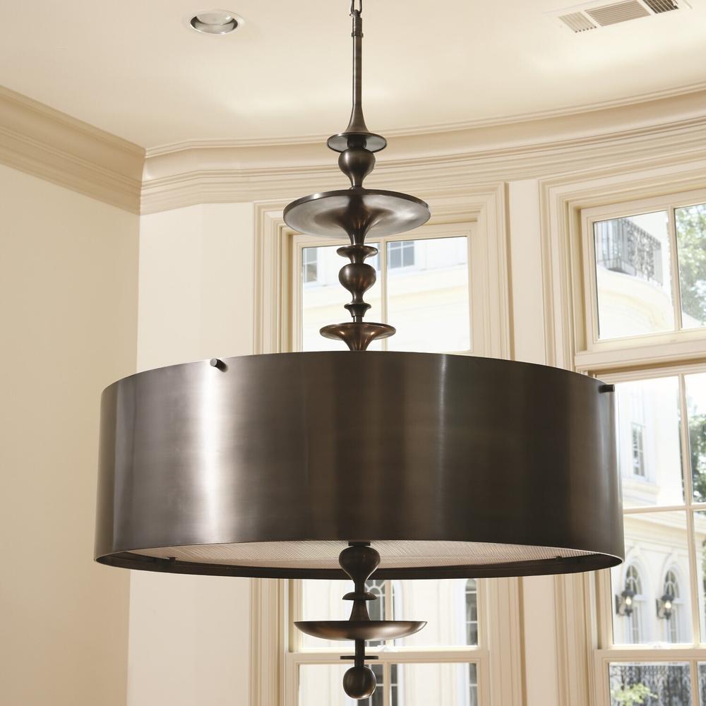 See Details - Turned Pendant Chandelier-Antique Bronze-Sm
