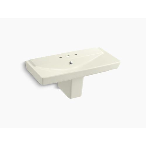 """Biscuit 39"""" Semi-pedestal Bathroom Sink With 8"""" Widespread Faucet Holes"""