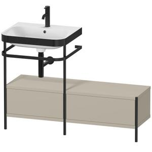 Furniture Washbasin C-bonded With Metal Console Floorstanding, Taupe Satin Matte (lacquer)