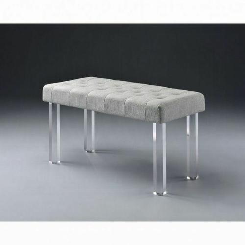 ACME Bagley Bench - 96510 - Linen & Clear Acrylic