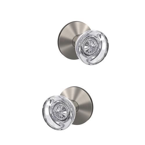 Custom Hobson Non-Turning Glass Knob with Kinsler Trim - Satin Nickel