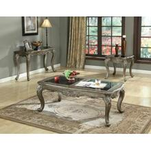 ACME Chantelle Coffee Table w/Granite - 80540 - Black Granite & Antique Platinum