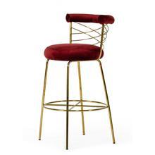 See Details - Modrest Dakin Modern Glam Red & Gold Barstool