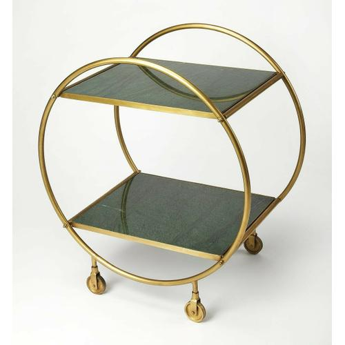 Build a home bar that's just as stylish as it is ideal for entertaining with this eye-catching cart. Founded atop four castered feet for easy mobility between the den and dining room, this piece features a circular frame crafted from iron with a striking antique gold finish. Its two rectangular tiers offer marble shelves, lending elegance to your display of filled decanters and food trays, so you can both serve and display.