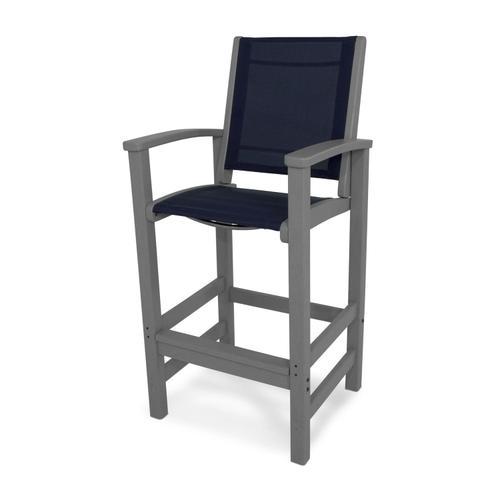 Slate Grey & Navy Blue Coastal Bar Chair