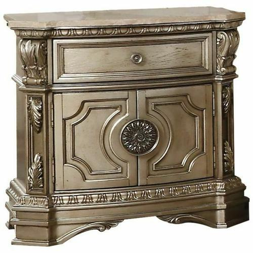 ACME Northville Nightstand w/Marble Top - 26934 - Antique Silver