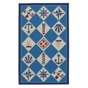 Nautical Grid Ocean Blue - Rectangle - 8' x 10'