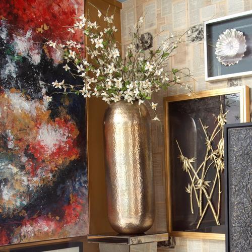 Howard Elliott - Oversized Metal Cylinder Vase with Hammered Silver Finish, Large