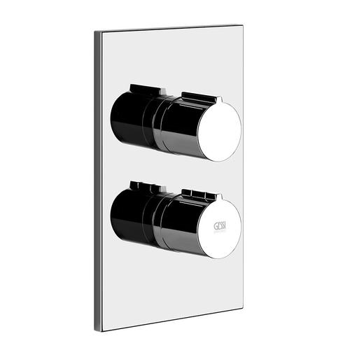 """Gessi - TRIM PARTS ONLY External parts for 3-way thermostatic diverter and volume control Single backplate 1/2"""" connections Vertical application Anti-scalding Requires in-wall rough valve 09270"""