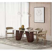 View Product - Modrest Draper - MId-Century Marble and Walnut Dining Table