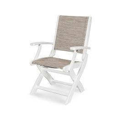 Polywood Furnishings - Coastal Folding Chair in Vintage White / Onyx Sling