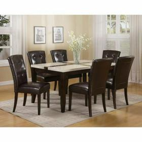 ACME Justin Dining Table - 16550 - White Faux Marble & Walnut