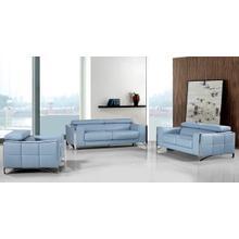 Product Image - Divani Casa 1504 Modern Light Blue Leather Sofa Set