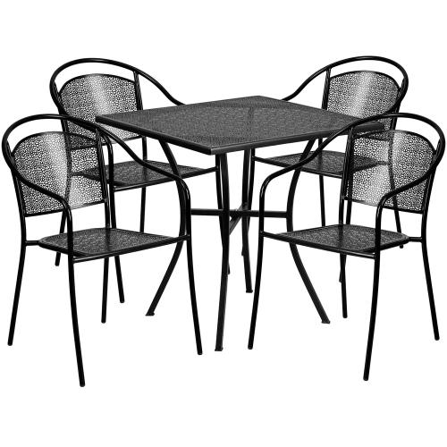 28'' Square Black Indoor-Outdoor Steel Patio Table Set with 4 Round Back Chairs