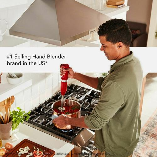 KitchenAid - Cordless Variable Speed Hand Blender with Chopper and Whisk Attachment - Empire Red