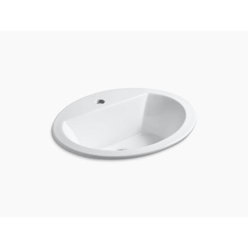 Black Black Drop-in Bathroom Sink With Single Faucet Hole
