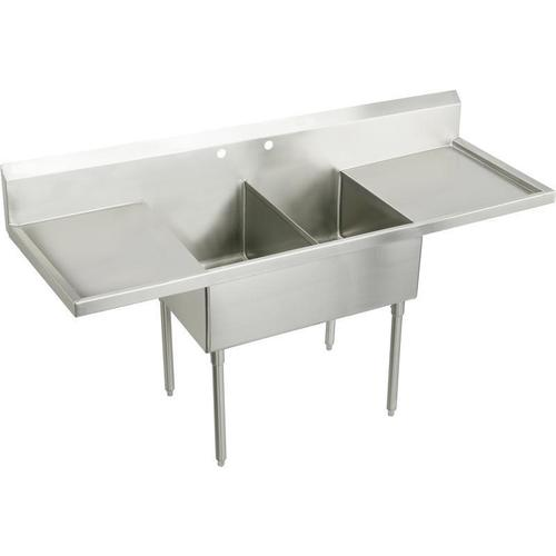 """Elkay Weldbilt Stainless Steel 96"""" x 27-1/2"""" x 14"""" Floor Mount, Double Compartment Scullery Sink with Drainboard"""